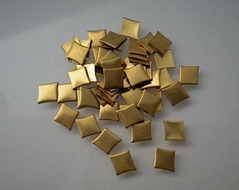 48 tiny brass diamond charms