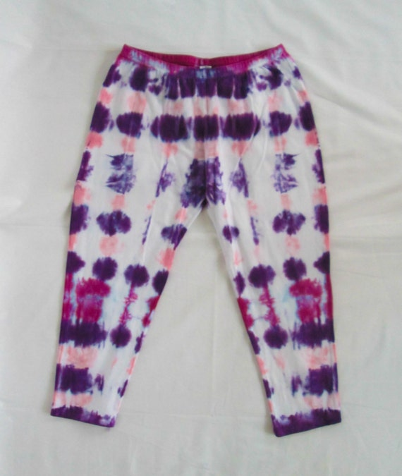 Raspberry, Baby Pink & Deep Purple Womens Tie Dye Capri Leggings/Hand Dyed/Womens Tie Dye/Raspberry, Pink, Purple/Eco-Friendly Dying