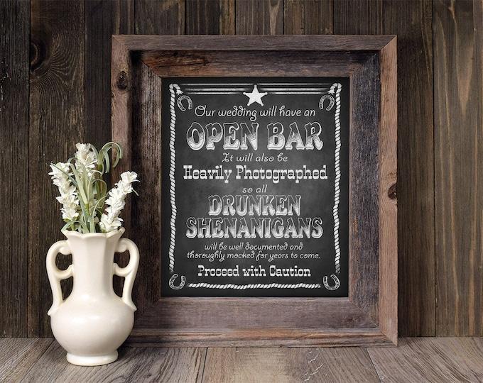 Western Wedding Sign   PRINTABLE Bar sign, Wedding Printable, Open Bar Wedding Signage, Chalkboard Wedding decoration, Country Wedding decor