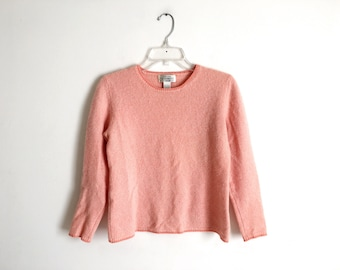 Vintage Cashmere Sweater Peach Cashmere Pullover Sweater Soft Minimal Sweater 80s Cashmere Sweater Women's Large Coral Sweater