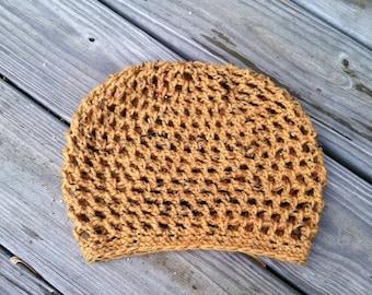 MINI TAM Handmade Crochet Hat for Men Women Hippie Hat Boho Hat Earthy Big Weave Vegan Hat *Squash Gold Fleck*