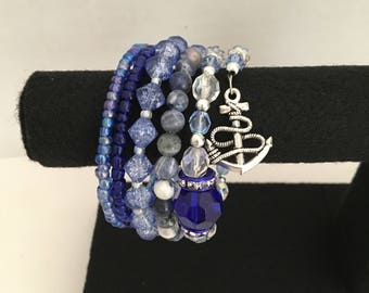 Anchors Aweigh Blue Memory Wire Bracelet