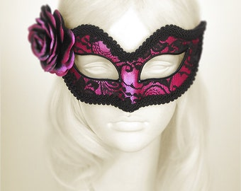 Fuschia And Black Lace Masquerade Mask - Pink Venetian Mask Decorated With Black Lace & Handpainted Rose - Fuschia Lace Masquerade Ball Mask