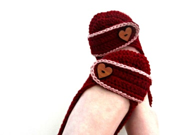 Valentine's Day Slippers - Crochet Women's Slippers - crochet shoes - red and pink - heart buttons