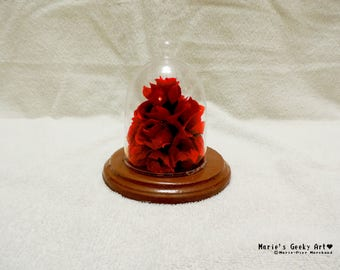 Glass globe Red roses decoration Beauty and the Beast inspiration