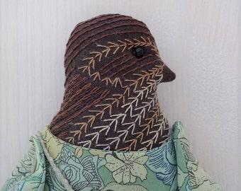 Kitty - A Hand Embroidered Wren Folk Art Rag Doll