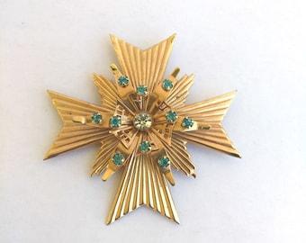 Vintage Rhinestone Maltese Cross Brooch Gold Tone Blue & Clear Stones Layered , Large Gold Maltese Cross Brooch