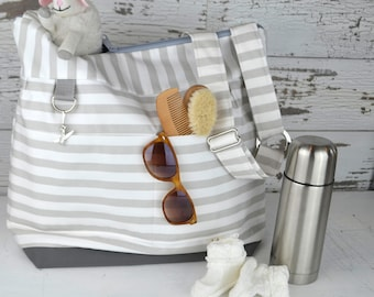 Diaper bags by Darby Mack our 'Leila' bag in Cement Grey Stripe /  Washable and durable!  Made in the USA