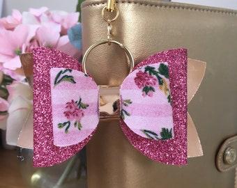 Bow Planner Charm, Glitter, Pink, Rose Gold  Travelers Notebook Charm, Planner Clip,  Keyring, Glitter,