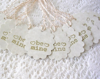 Étiquettes à cadeaux Saint Valentin - ovale feston être MIENNE Tags - Valentin Tags - Simple Tags - ensemble de 12 Etiquettes cadeaux
