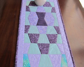 """Quilted Table Runner """"Lavender Spring"""" Purple and Green Quilted Patchwork, Quiltsy Handmade Long Table Runner, Rectangular Table Mat"""