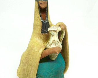 """David Kalderon Israel; Clay Figurine; Approx. 6.5""""h x 4""""w x 3""""L; (FREE SHIPPING); Handcrafted; Signed !!!"""