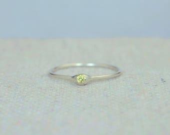 Dainty Silver Topaz Mothers Ring, Topaz Birthstone, Tiny Topaz Ring, Dew Drop Ring, Sterling Silver, Stacking Ring, November Birthday Gift