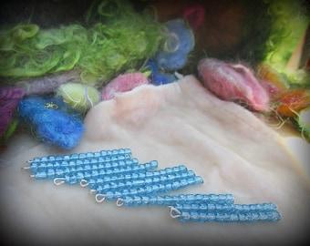 Charms, Beaded, Set of 10,  Handmade, Craft Supplies, Beaded Fringe, Blue