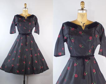 1950s Black Taffeta Party Dress with Red Floral Embroidery and Full Skirt