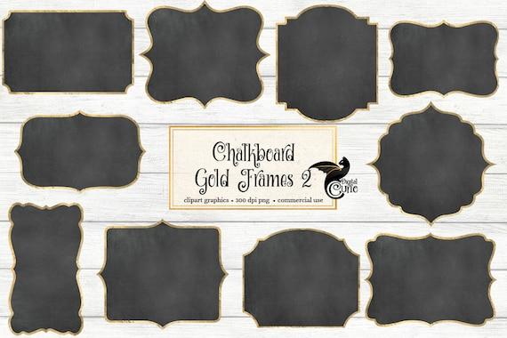 Chalkboard Gold Frames 2 clipart chalkboard frames gold