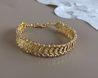 Gold Link Bracelet, Authentic Jewelry, Gold Yellow Cuff, Charms Coins Bracelet, Tribal Boho jewelry, Gift For Mom, Bridesmaid Gift