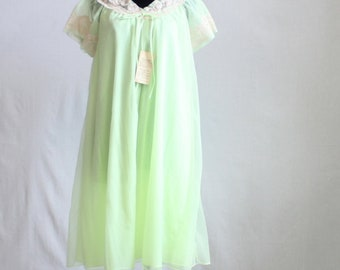 1950s Vintage Nightgown with robe / Sorbet Green / 2pc