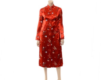 Vintage 60s Dynasty Red Satin Asian Embroidered Jacket 1960s Hong Kong Goth Dress Lounge Duster / size Small