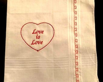 Love is Love Red Heart Handkerchief