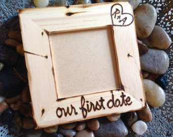 Valentine's Day our First Date Picture Frame with initials boyfriend girlfriend anniversary selfie Instagram love