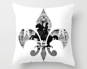 New Orleans Fleur de Lis  pillow home decor cushion fine art photograph living room bedroom furnishing minimalist Jackson Square black white