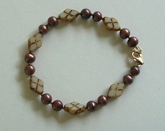 Beige and Brown Diamond Shaped Czech Glass Beads and Brown Glass Pearls Bracelet Carol Wilson of Je t'adorn