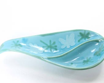 Vintage Dryden Pottery Divided Dish Blue Relish Tray