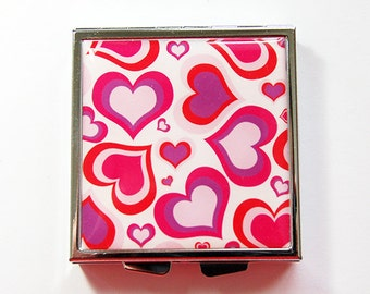 Pill box, Pill case, Square pill case, hearts, heart pill case, 4 Sections, Square Pill box, Pill container, red, pink,Valentines day (4168)