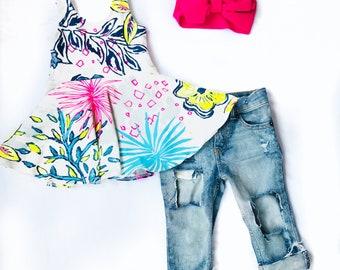 Neon Floral Twirl Tunic