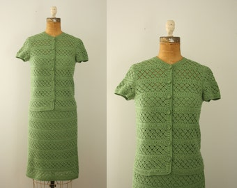 1960s dress | vintage 60s green crochet dress