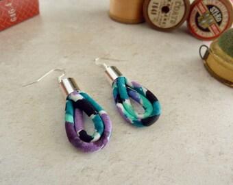 Teal Hoop Earrings - Turquoise Earrings - Blue Fabric Earrings - Fabric Drop Earrings - Teal Drop Earrings - Secret Santa - Gift For Her