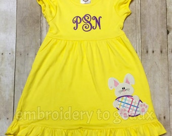 Easter Dress Girls, Easter Dress, Personalized Easter Dress, Monogrammed Easter Dress, Girls Easter Dress, Toddler Girls Bunny Dress