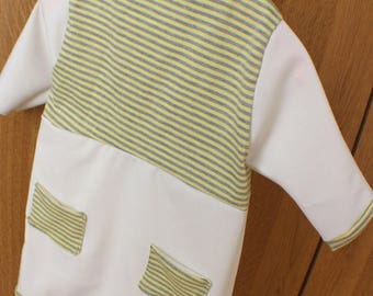 Robe bébé en coton rayé et uni beige & son bandeau assorti