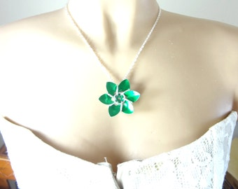 Green Dragon Scale Flower Necklace
