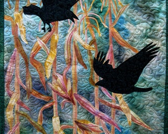 Hand painted fabric art quilt, wall hanging, textile art - Corn and crows