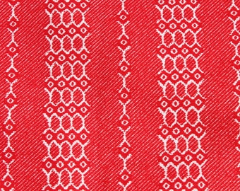 Vintage Red White Fabric by the Yard, Striped Geometric Small Print Medium Weight Cotton Fabric, Sewing Quilt Fabric