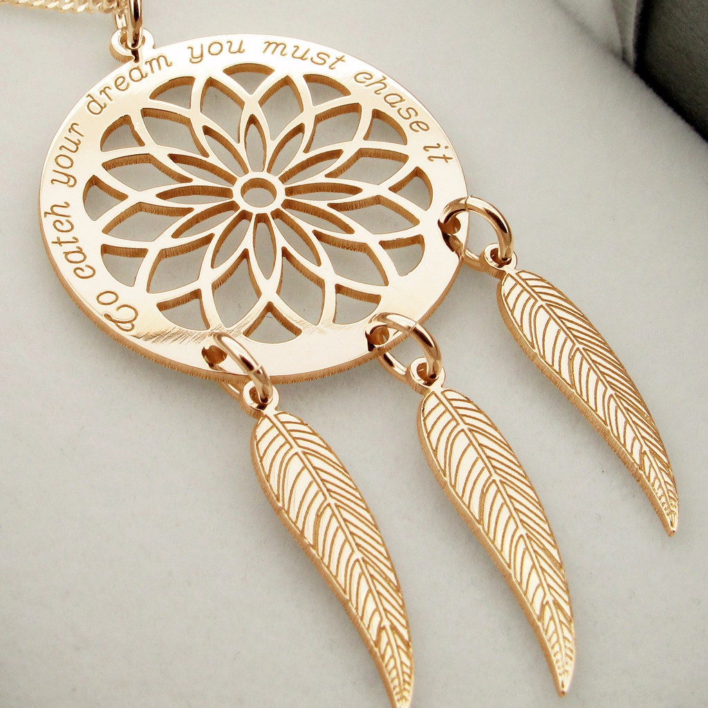 catcher claire dreamcatcher pendant necklace s dream gold