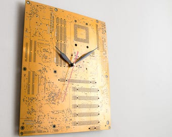 Yellow Gold Large Wall Clock, Circuit Board Clock, Unique Wall Clock, Modern Wall Clock, Unique Gift, Cool Gift, Industrial Computer Clock