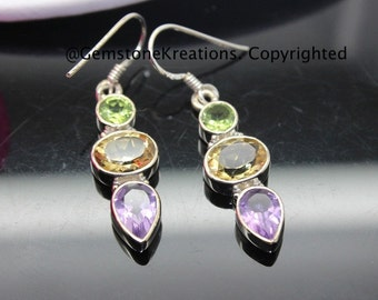 Citrine, Peridot, Amethyst Earrings,  925 Sterling Silver , Gemstone Earrings, Crystal Earrings