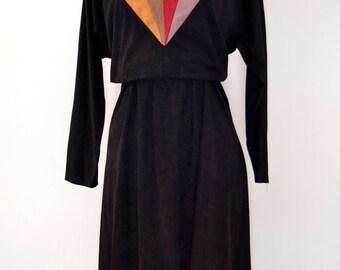 80s GRAPHIC VELVETEEN DRESS