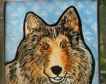 Collie  Stained Glass Dog Suncatcher JRN228