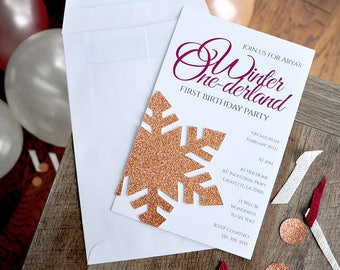 Snowflake Invitations in Rose Gold and Burgundy and Envelopes. We Print, Cut, Glue and Ship to You in 2-5 Business Days. Winter Onederland.