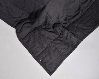 King Size linen Quilts Natural Flax Black Quilted Linen StoneWashed Modern Quilt Organic Blanket Eco Bedding Neavier Linen Fabric