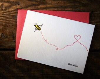 Letterpress Printed Bee Mine Valentine - single