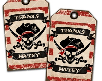 Pirate Party, Thank You Tags, Hang Tags, Favor Tags, Gift Tags, Instant Download, Print Your Own