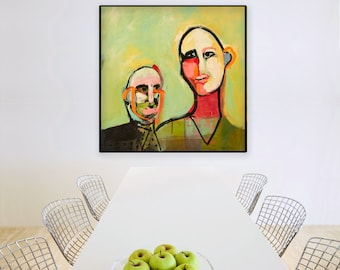 Extra Large Wall Art, Square Art,  Modern Abstract Art, Figure Art, Face Art, Abstract Art Print, Colorful Wall Art