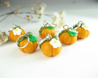 Pumpkins Stitch markers Set of 6 vegetable charms miniature food knitting accessories polymer clay pumpkin gift for knitters for her harvest