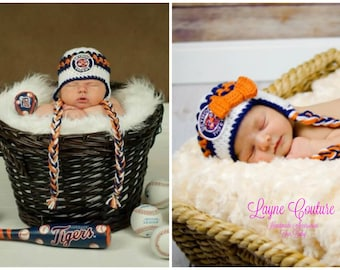 Handmade Newborn Detroit Tigers Inspired Baby Earflap Crochet Hat with Bow Option / MLB Baby / Photo Prop / Custom Made