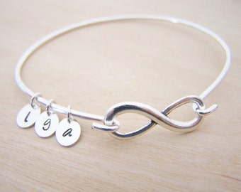 Personalized Initial Infinity Silver Bangle Bracelet / Gift for Her